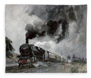 Steam Train At Garsdale - Cumbria Fleece Blanket