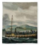 Steamboat Travel On The Hudson River Fleece Blanket