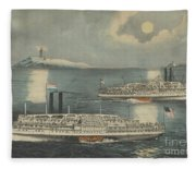 Steamboats Passing At Midnight On Long Island Sound Fleece Blanket