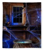 Steaming Cauldron In A Witch Cabin Fleece Blanket