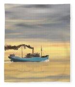 Steamship Freighter Heading Towards The Ocean Fleece Blanket