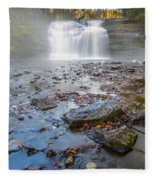 Steamy Morning At Pixley Falls Fleece Blanket