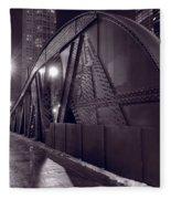 Steel Bridge Chicago Black And White Fleece Blanket