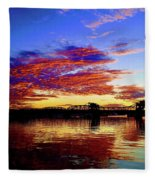Steel Bridge Sunset Silhouette Fleece Blanket