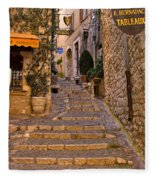 Steep Street In St Paul De Vence Fleece Blanket