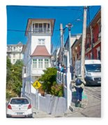 Steep Streets Up The Hills In Valparaiso-chile   Fleece Blanket