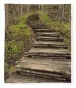 Step Trail In Woods 17 A Fleece Blanket