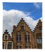 Stepped Gables Of The Brick Houses In Jan Van Eyck Square Fleece Blanket