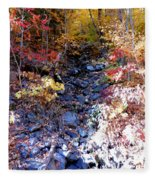 Stepping Stones At Autumn Forest Fleece Blanket