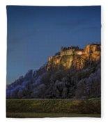 Stirling Castle Scotland At Night Fleece Blanket