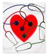 Stethoscopes And Plastic Heart Fleece Blanket