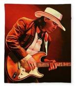 Stevie Ray Vaughan Painting Fleece Blanket