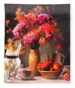 Still - Floral And Fruit Fleece Blanket