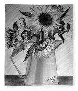 Still Life - 6 Sunflowers In A Jug Fleece Blanket