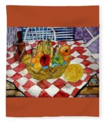 Still Life Art Fruit Basket 3 Fleece Blanket