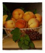 Still Life - Basket Of Peaches Fleece Blanket