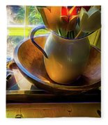 Still Life By Window Fleece Blanket