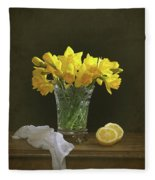 Still Life Daffodils Fleece Blanket