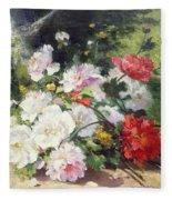 Still Life Of Flowers Fleece Blanket