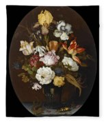 Still Life Of Flowers In A Glass Vase Fleece Blanket