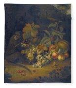 Still Life Of Fruit With A Monkey Fleece Blanket