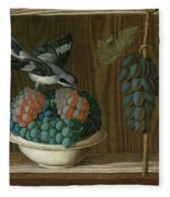 Still Life Of Grapes With A Gray Shrike Fleece Blanket
