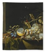 Still Life Of Hazelnuts Grapes Oysters And Other Foods On A Draped Table Fleece Blanket