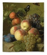 Still Life Of Peaches  Grapes And Plums On A Stone Ledge With A Bird And Butterfly Fleece Blanket