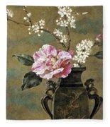 Still Life Of Pink Roses Fleece Blanket