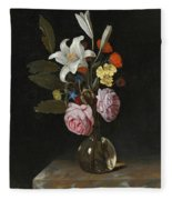 Still Life Of Roses Lilies And Other Flowers In A Glass Vase On A Marble Ledge Fleece Blanket