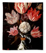 Still Life Of Variegated Tulips In A Ceramic Vase With A Wasp A Dragongly A Butterfly And A Lizard Fleece Blanket