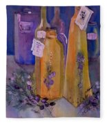 Still Life Olive Oil And Olive Twigs Fleece Blanket