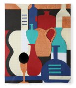 Still Life Paper Collage Of Wine Glasses Bottles And Musical Instruments Fleece Blanket