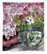 Still Life Vase And Lace Watercolor Painting Fleece Blanket
