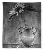 Still Life - Vase With One Sunflower Fleece Blanket