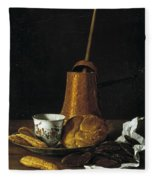 Still Life With A Chocolate Service Fleece Blanket