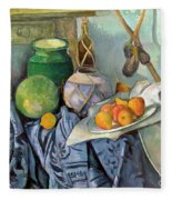 Still Life With A Ginger Jar And Eggplants Fleece Blanket