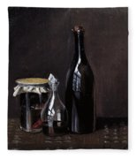 Still Life With A Jellyjar A Carafe And A Bottle Of Wine Fleece Blanket