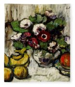 Still Life With Anemones And Fruit Fleece Blanket