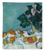 Still Life With Apples And A Pot Of Primroses, 1890 Fleece Blanket