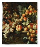 Still Life With Apples And Grapes Fleece Blanket