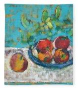 Still Life With Apples Fleece Blanket