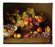 Still Life With Basket And Pomegranate Fleece Blanket