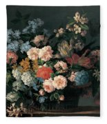 Still Life With Basket Of Flowers Fleece Blanket