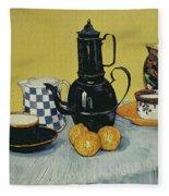 Still Life With Blue Enamel Coffeepot, Earthenware And Fruit, 1888 Fleece Blanket