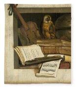 Still Life With Books Sheet Music Violin Celestial Globe And An Owl Fleece Blanket