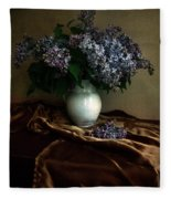 Still Life With Bouqet Of Fresh Lilac Fleece Blanket