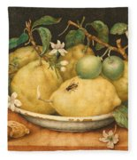 Still Life With Bowl Of Citrons Fleece Blanket
