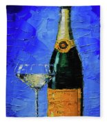 Still Life With Champagne Bottle And Glass Fleece Blanket