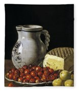 Still Life With Cherries  Cheese And Greengages Fleece Blanket
